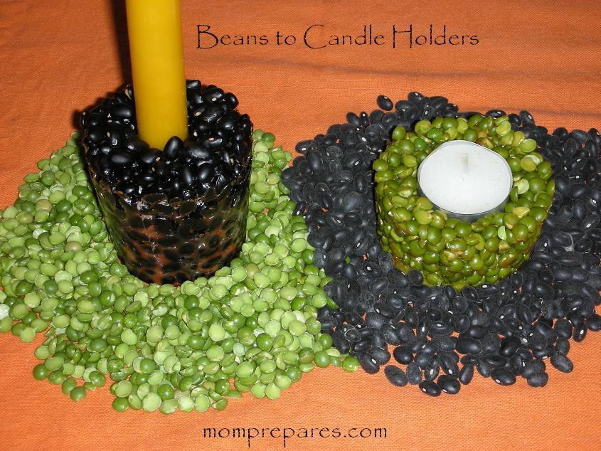 Expired Beans and Peas: Candle Holder Craft