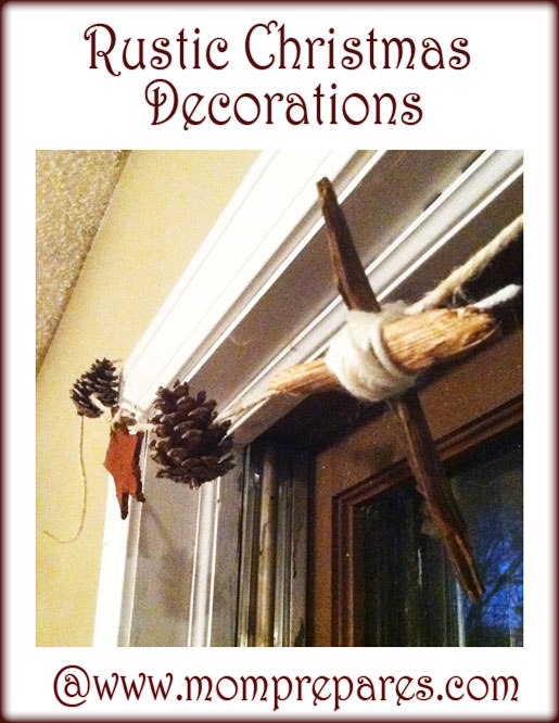 Our simple Christmas garland. My son made the cross and brought it home for me. It took me five minutes to put this together and add it to our window. Image by Carrie Foster.