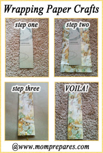 Make a bookmark with leftover wrapping paper! Images by Brenda Priddy, cover design by Mom Prepares.
