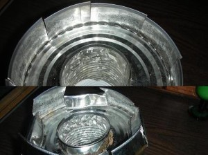Bend down 4 metal pieces to hold down lid and the others will hold the pan. Image by Aprille Ross