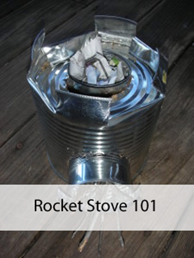 A basic rocket stove can be made from tin cans! Image by Aprille Ross