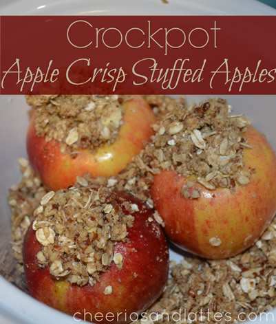 Crockpot Apple Crisp Stuffed Apples from Cheerios and Lattes