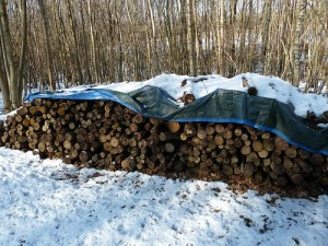 Here's round logs that are not only nicely stacked, but also covered to prevent the snow from piling up on top of the wood. Covering your firewood stack is also a good idea when you live in an area with rainy/icy weather during the winter. Have you ever tried to pry a pile of frozen logs apart? It's also difficult to get an ice-covered log to burn, without taking the extra time to dry it out. Flickr photo by The Heartwood