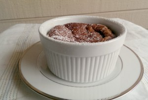 Here is the souffle about 10 minutes after I took it out of the oven. It falls FAST. Photo by Brenda Priddy
