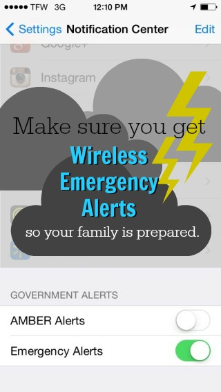 Make sure you get Wireless Emergency Alerts so your family is prepared for storms