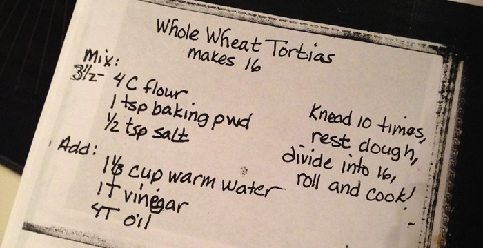 Whole Wheat Tortilla Recipe Card