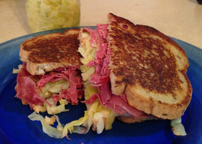Reuben Sandwich with Homemade Sour Kraut