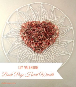diy valentine book page heart wreath