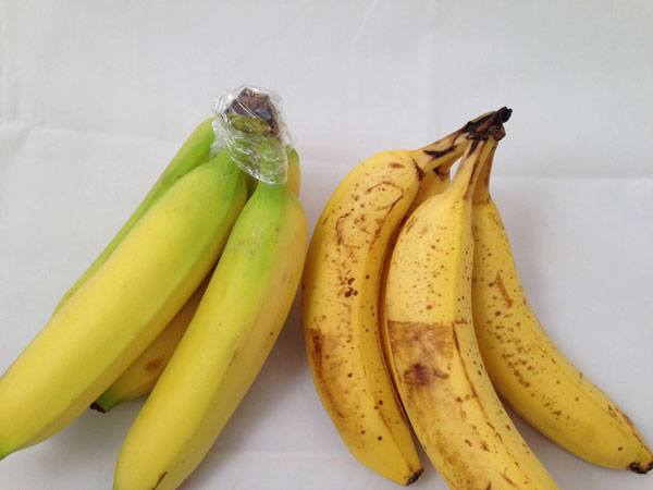 bananas in plastic wrap