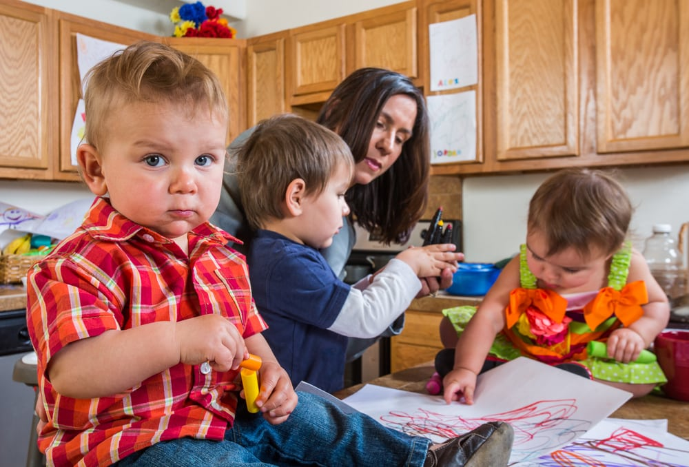Busy Mom with Kids