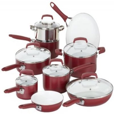 WearEver 15 Piece Ceramic Nonstick Cookware Set